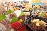 新鮮な刺身と多彩な料理が満載のコース!!