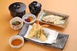 天ぷら御膳(ご飯・味噌汁・焼き魚・小鉢・香の物)