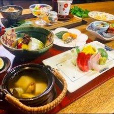 四季の食材を正統派和食に仕立て上げた夜の月替り懐石コース「雅」5500円
