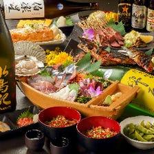 【青葉】宮城の旨いお料理等8品<個別盛り>+宮城・東北の日本酒純米酒50種付120分飲み放題4,000円