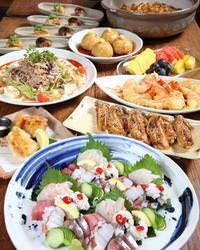 ●海の幸や地鶏を使った9品コース 5000円(税込、飲み放題付)