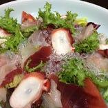蔵の庄最高のハイコスパメニュー!「海鮮サラダ」です。野菜よりも刺身が多いと評判です(アレ?)