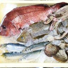 毎日築地から直送される新鮮な魚介類