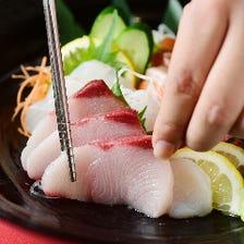 今夜は旬魚のお造りと日本酒で乾杯!