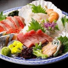 【プレミアム冬宴会コース】季節のお刺身と店主自慢の創作料理に温かいお鍋が付いた4500コース