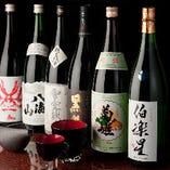 厳選して取り揃えた日本酒は常時10種以上