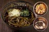 国産十割玄蕎麦 ・山芋かけ蕎麦 /つけ汁・純ごま汁・北海道産たこ飯付