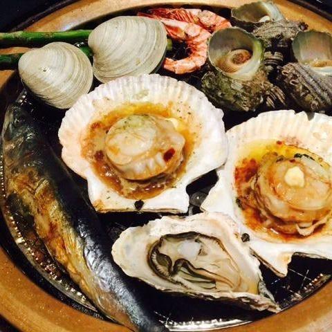 新鮮な魚介を浜焼きで食す☆