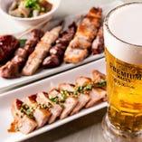 絶品豚しゃぶや串焼きなど、お酒に合う豚肉料理は全17種ご用意