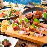 季節限定の飲み放題付コース。旬の海鮮和食料理をご堪能ください