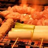 串焼きや炙り焼きなど丁寧に香ばしく焼き上げる焼きは必食!