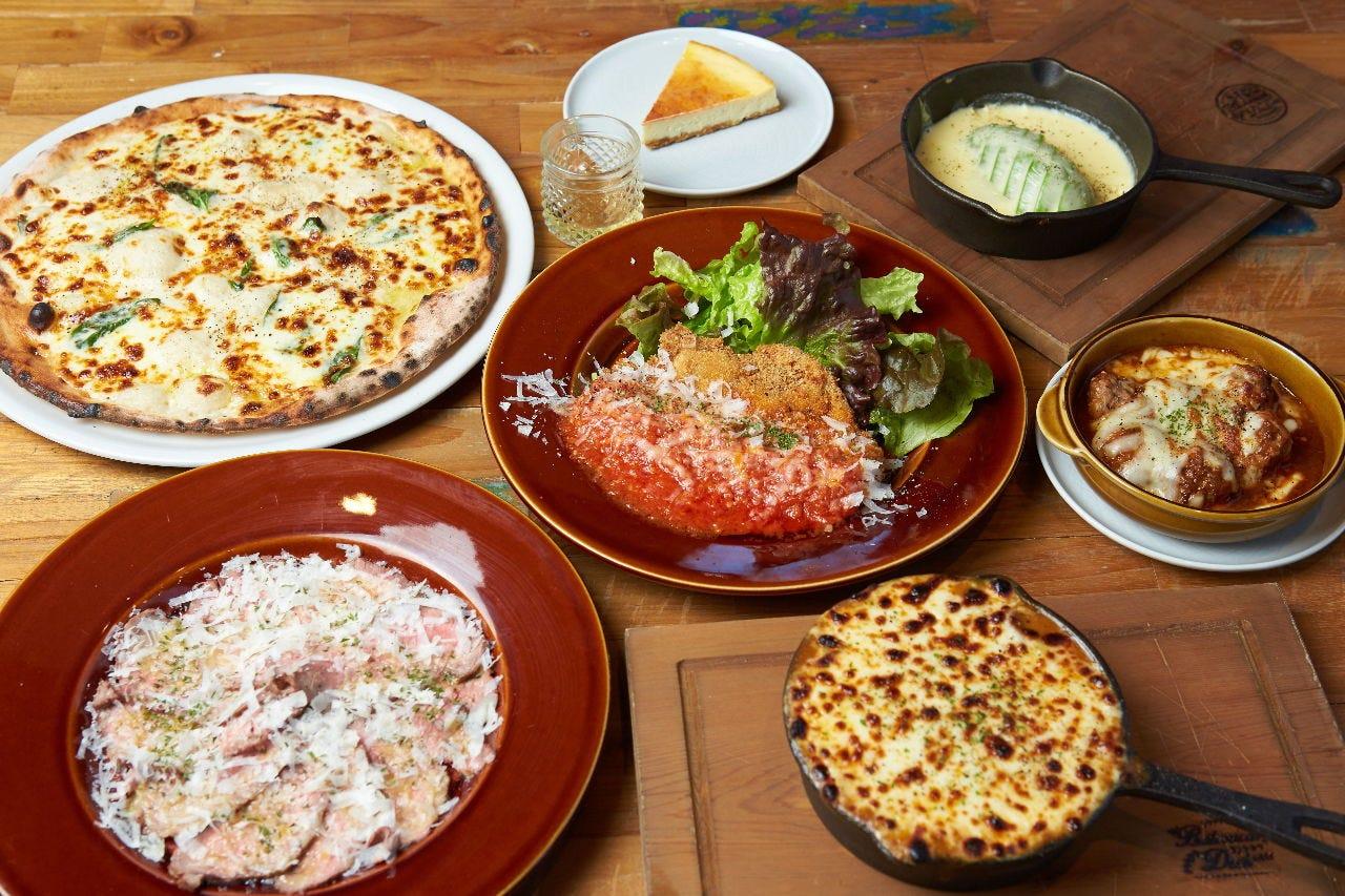 【お料理のみ】黒牛・茶美豚・チーズ・PIZZAを堪能!肉&チーズプラン!