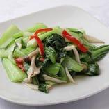 6】シメジと青菜のさっぱり塩炒め