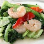 海老と青菜の炒め