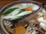 八森や男鹿で採れたハタハタを 季節野菜と魚醤で煮込んだ鍋