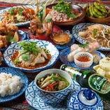 アジアン料理をふんだんに盛り込んだ、飲み放題付き宴会コース!