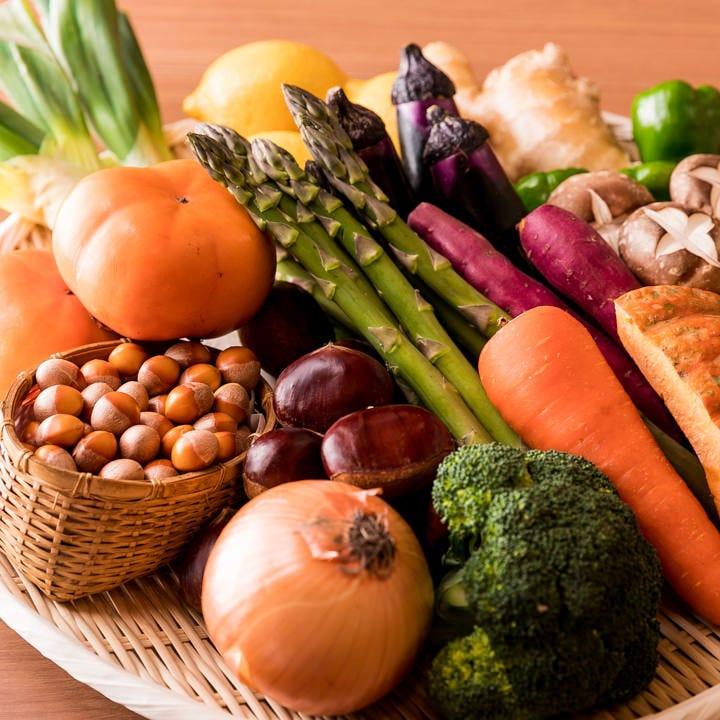 有機肥料で育てる自家農園の野菜をどうぞお愉しみください