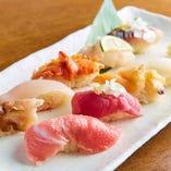 熟練の職人による握り鮨おまかせ9貫!毎日仕入れる新鮮食材!