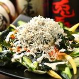 篠島産 釜揚げシラスとワカメのサラダ
