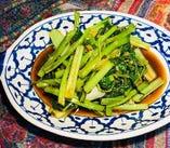 大人気 空芯菜と中国野菜ターツァイの炒め