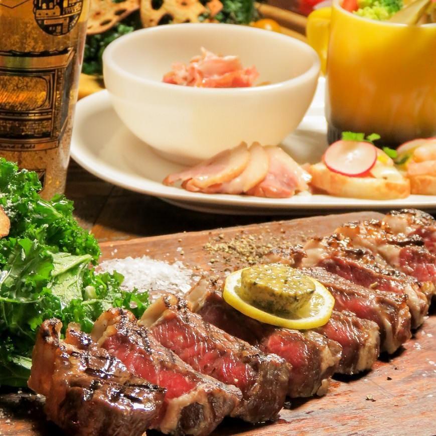 【人気NO1】 道産牛サーロインステーキなど全7品 120分飲放付