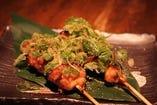 紀州鶏せせり串の葱山椒仕立て