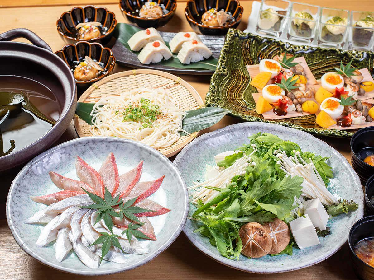 秋の味覚!金目鯛と鯛と炙り太刀魚の二段しゃぶしゃぶコース