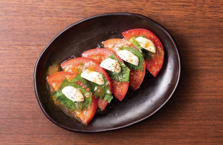 チェリーモッツアレラのトマト和プレーゼ ~オーガニックジンジャーのソースがけ~