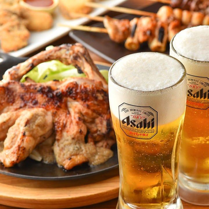 「一本焼×ビール」ジューシーな肉にはキレ味抜群のビールがおすすめ