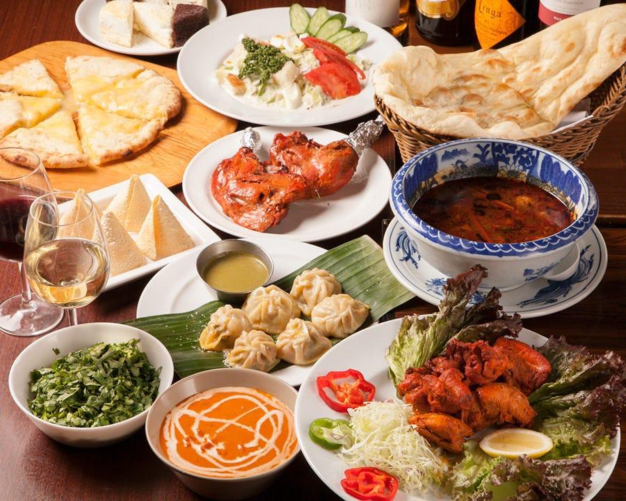 ◆【2時間飲み放題付&パクチー食べ放題】ヒマラヤミールスコース〈全10品〉宴会・飲み会・パーティ