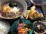 天ぷら 刺身 日本そば御膳