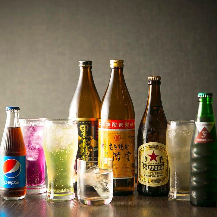 おひとり様1650円(税込)で120分飲み放題を追加できます。