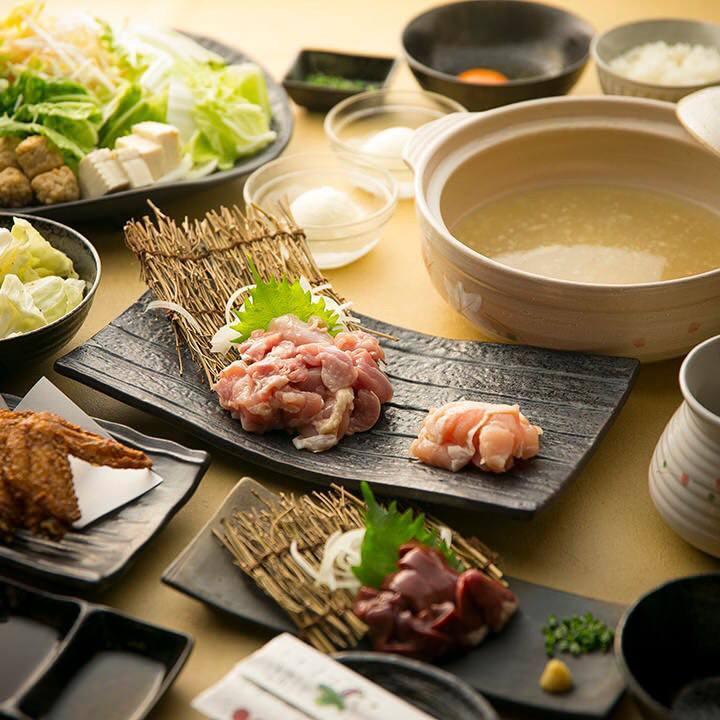 【宴会】鶏の旨味が詰まった濃厚鶏スープで頂く『鶏白鍋セット』全6品+飲み放題4,580円(税込)