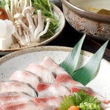 【2H飲み放題付】『5,000円コース』鰤しゃぶ鍋に刺身10点盛&炙り握り含む寿司盛り合わせも付く豪華内容