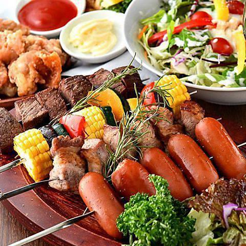 【GoTo対象】【肉祭り】生付き3H飲み放題『本格シュラスコ&選べる料理食べ放題』【全9品/4280→3280円】