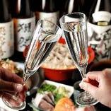 コース飲み放題に、お一人様プラス1,000円(税抜)で、地酒も追加できます◎