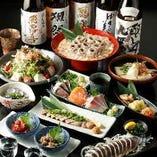 名物の炙り〆鯖や季節の鮮魚盛り、豚ロースの西京焼きなどを味わえるコースをご用意!