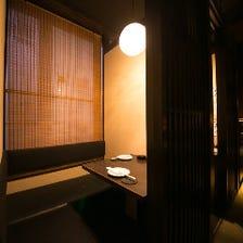 ご予約必須の人気の個室席を完備