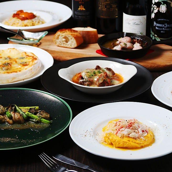 2時間飲み放題付!旬の新鮮食材を活かした創作イタリアンで楽しくパーティ♪『5,000円コース』全8品