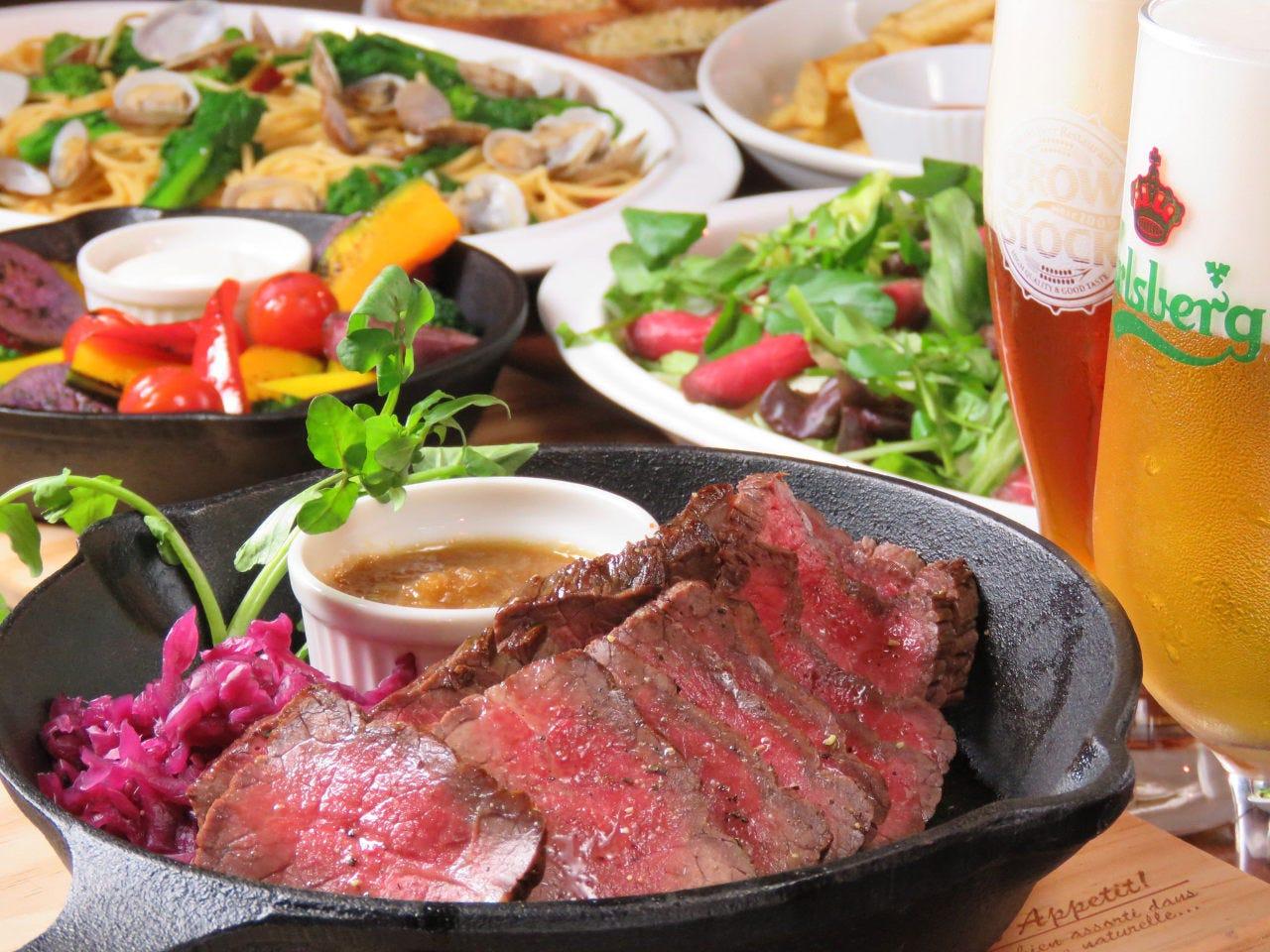 柔らかジューシーな厳選赤身肉のステーキ付のこだわり食材全6品