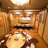 高級感溢れる掘りごたつ個室。最大45名様までご利用いただけます