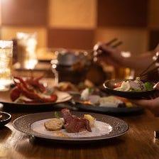厳選牛ステーキや旬魚介の創作コース