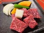 平日限定の黒毛和牛のサイコロステーキ御膳です。¥2000-税抜