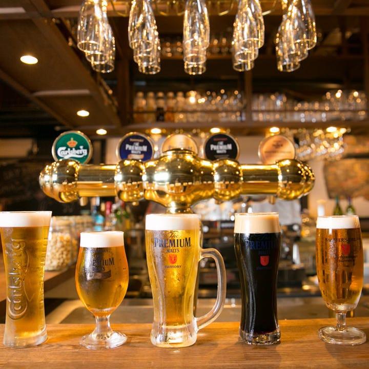 厳選4種の樽生ビール&ボトルワイン