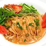 バンバンジー冷麺セット+半チャ飯 杏仁豆腐 ザーサイ