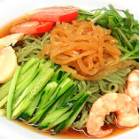 海鮮冷麺セット 半チャ飯 杏仁豆腐 ザーサイ付