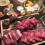 メインの焼きしゃぶ、焼野菜、〆の雑炊などバランスよく盛り込んだコース