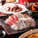 鮮度にこだわった旬の魚のお刺身がメインのコース