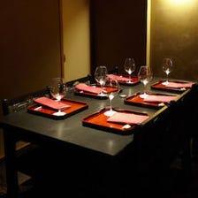 「和」の個室空間でお料理を堪能