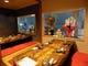 二階掘り炬燵の半個室席は襖を開けると12名様まで対応可能です